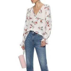 NWT JOIE Floral-print 100% Silk Crepe Blouse